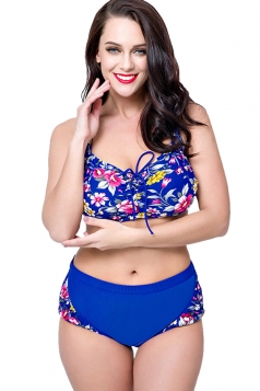 Womens Plus Size 2PCS Floral High Waist Bikini Set Sapphire Blue