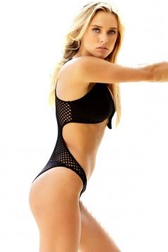Womens Fishnet Patchwork Knot Plain One Piece Swimsuit Black