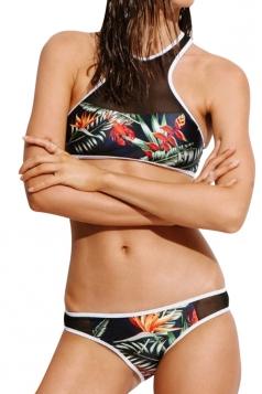 Womens Mesh Patchwork 2PCS Floral Printed Bikini Set Black