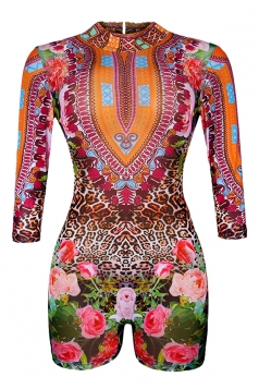 Womens Open Back Floral Printed Long Sleeve One Piece Swimsuit Red