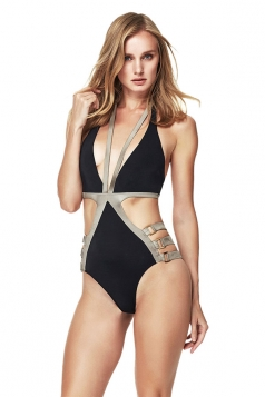 Womens Bandage Lace Up Halter Retro One Piece Swimsuit Black