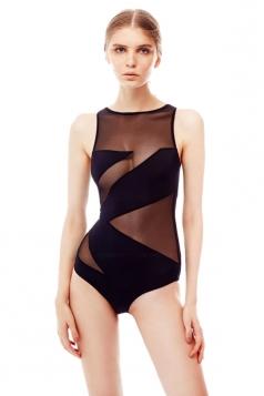 Womens Sexy Mesh See Through Sleeveless One Piece Swimsuit Black