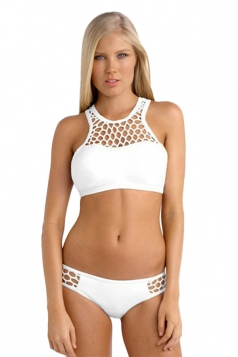 Women Sexy Fishnet Zipper Swimwear Top&Swimsuit Bottom White