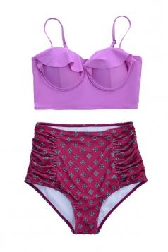 Womens Sexy Ruffle Swimwear Top&High Waist Swimsuit Bottom Purple