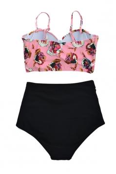 Womens Sexy Ruffle Swimwear Top&High Waist Swimsuit Bottom Pink