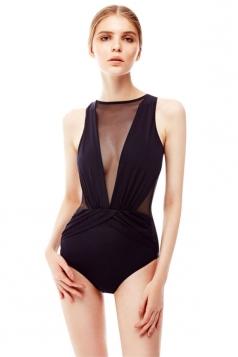 Womens Sexy Deep V-neck Mesh See Through  Monokini Black