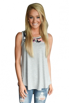 Womens Crewneck Floral Printed Patchwork Tank Top Gray