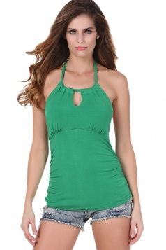 Womens Halter Backless Keyhole Strapless Plain Top Green