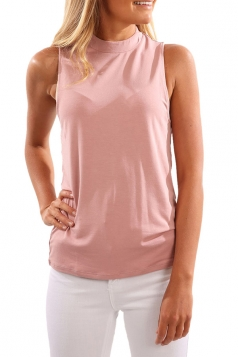 Womens V Cut Back Sleeveless Plain Simple Tank Top Pink
