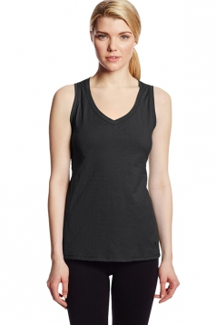 Womens V Neck Sleeveless Solid Color Tank Top Black