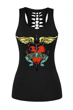 Womens Printed Hollow Out Racer Back Sports Tank Top Black