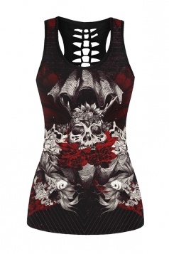 Womens Hollow Out Racer Back Skull Queen Printed Tank Top Black