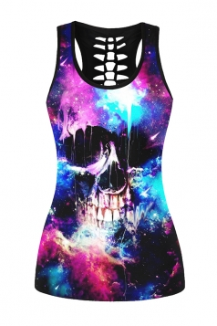Womens Hollow Out Racer Back Galaxy Skull Printed Tank Top Black
