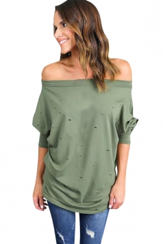 Womens Off Shoulder Hollow Out Plain Loose T Shirt Green