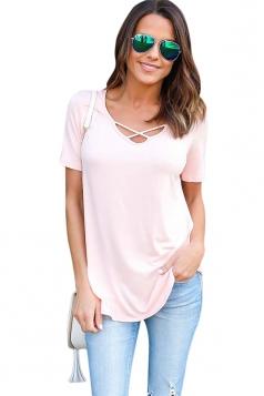 Womens Crisscross V-neck Plain Short Sleeve T Shirt Pink