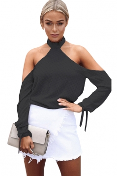 Womens Halter Long Sleeve Plain Backless Off Shoulder Top Black
