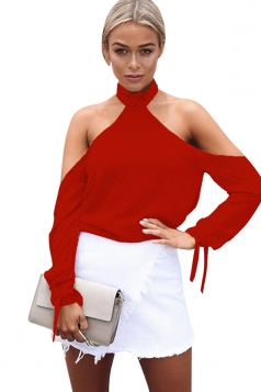 Womens Halter Long Sleeve Plain Backless Off Shoulder Top Red