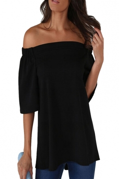Womens Off Shoulder Plain Back Slit Short Sleeve Top Black