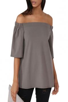 Womens Off Shoulder Plain Back Slit Short Sleeve Top Gray