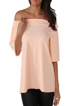 Womens Off Shoulder Plain Back Slit Short Sleeve Top Pink