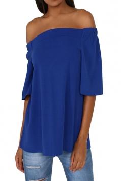 Womens Off Shoulder Plain Back Slit Short Sleeve Top Sapphire Blue