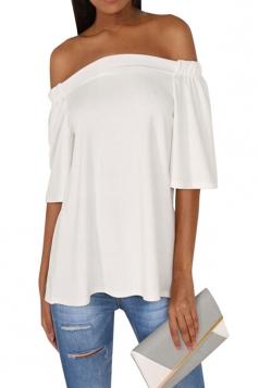 Womens Off Shoulder Plain Back Slit Short Sleeve Top White