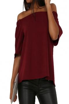 Womens Off Shoulder Plain Back Slit Short Sleeve Top Ruby
