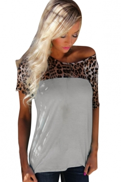 Womens Short Sleeve Leopard Printed Patchwork T Shirt Gray