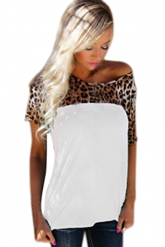 Womens Short Sleeve Leopard Printed Patchwork T Shirt White