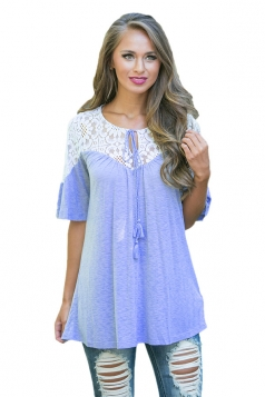 Womens Lace Patchwork Lacing Loose  T-shirt Light Blue
