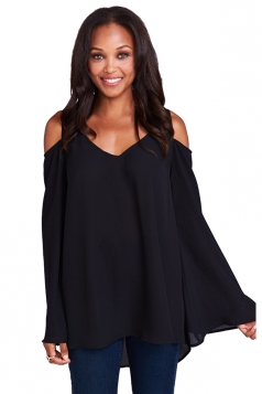 Womens Cold Shoulder Flare Sleeve Plain Chiffon Blouse Black