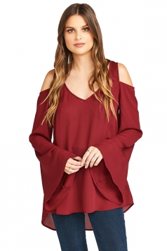 Womens Cold Shoulder Flare Sleeve Plain Chiffon Blouse Ruby
