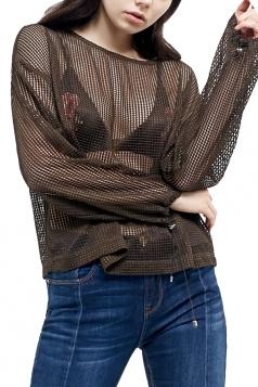 Womens Crewneck Hollow Out Fishnet Long Sleeve Sheer Top Green