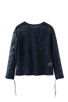 Womens Crewneck Hollow Out Fishnet Long Sleeve Sheer Top Navy Blue
