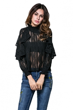 Womens Ruffled Sheer Striped Patterned Long Sleeve Plain Blouse Black