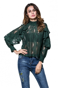 Womens Ruffled Sheer Striped Patterned Long Sleeve Plain Blouse Green