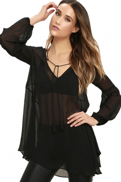 Womens V Neck Sheer Long Sleeve Loose Plain Blouse Black