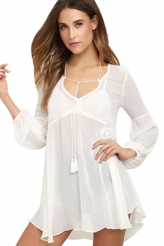 Womens V Neck Sheer Long Sleeve Loose Plain Blouse White