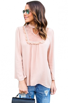 Womens Stand Collar Cutout Lace Patchwork Long Sleeve Blouse Pink