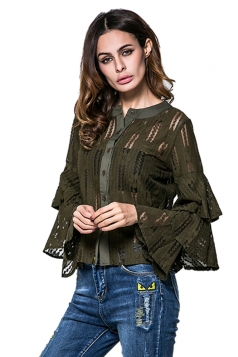 Womens Single-breasted Ruffled Flare Sleeve Lace Blouse Army Green