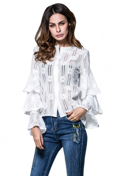 Womens Single-breasted Ruffled Flare Sleeve Plain Lace Blouse White