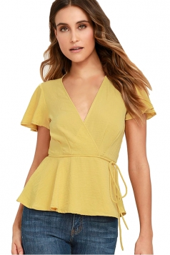 Womens V Neck Ruffled Sleeve Lace-up Pleated Hem Blouse Yellow