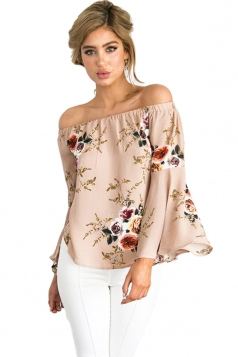Womens Off Shoulder Floral Printed Flare Long Sleeve Blouse Pink