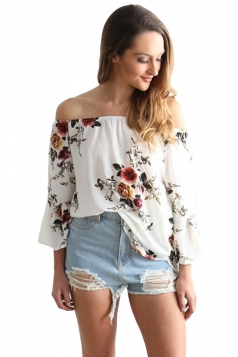 Womens Off Shoulder Floral Printed Flare Long Sleeve Blouse White