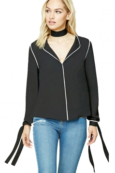 Womens V Neck Lace-up Long Sleeve Striped Blouse Black