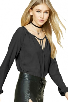 Womens Lace-up V Neck Plain Long Sleeve Blouse Black