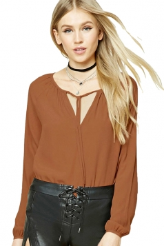 Womens Lace-up V Neck Plain Long Sleeve Blouse Coffee