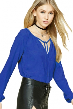 Womens Lace-up V Neck Plain Long Sleeve Blouse Sapphire Blue