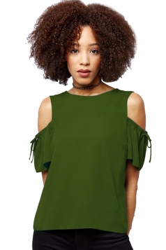 Womens Cold Shoulder Drawstring Short Sleeve Plain Blouse Army Green