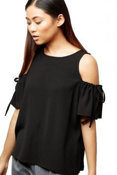 Womens Cold Shoulder Drawstring Short Sleeve Plain Blouse Black